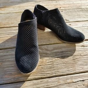 Lucky Brand Black Suede Perforated Booties Shoes